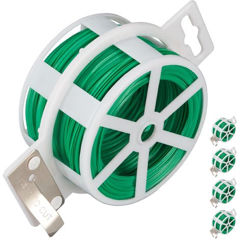 Relaxdays Pack Of 5 Garden Wire 50m, Plastic Coated Twist tie, For Plants, Reel With Cutter, Rust-free, Green