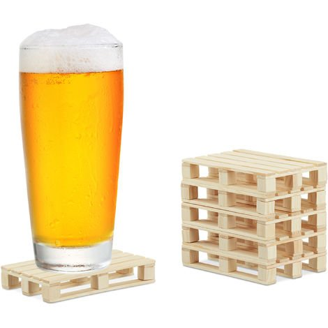 Relaxdays Pallet Coaster, Set of 6, Mini Wooden Beer Support for Glasses, Cups, 2 x 12 x 8 cm, Natural Colour