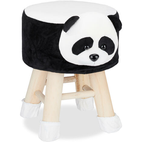 Relaxdays Panda Foot Stool, Decorative Vanity Stool, Removable Cover, Wooden Legs, Padded, Black-White