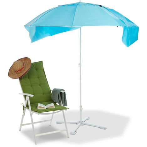 Relaxdays Parasol Beach Shelter, 2in1 Sun Protection for Holidays by the Sea, Transport Bag Included. HxD 210x180cm, Blue