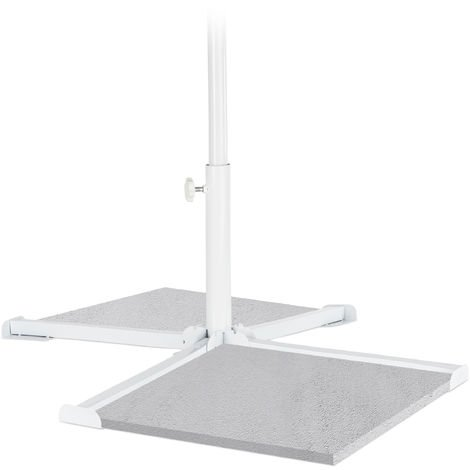 Relaxdays Parasol Stand, Pole Size 20-38mm, Folding Base, Snap-In Function, Sturdy, Handy, White