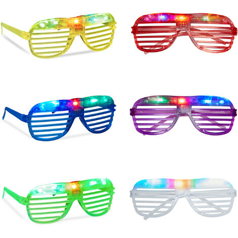 Relaxdays Party Glasses with LED Lights, Light-Up, Eyewear, Halloween or Carneval Accessory, Nerd Glasses, Various Colours