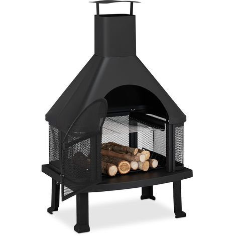 Relaxdays Patio Log Burner With Grill, Outdoor Fireplace With Spark Guard, Fire Poker, Solid, Steel, 110x63x51 cm, Black