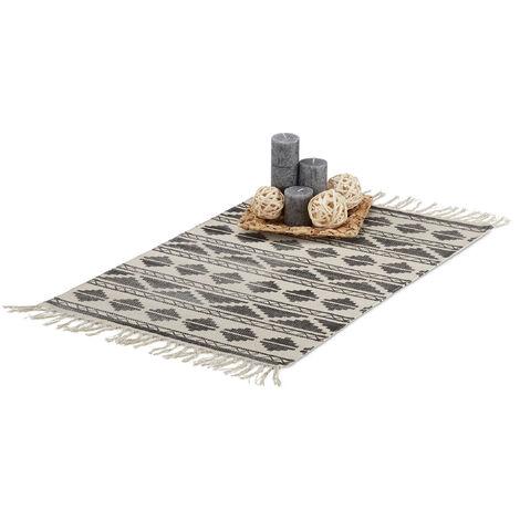 Relaxdays Patterned Carpet Runner for Hallway, Entrance or Living Room, 60x90 cm with Fringes, Black