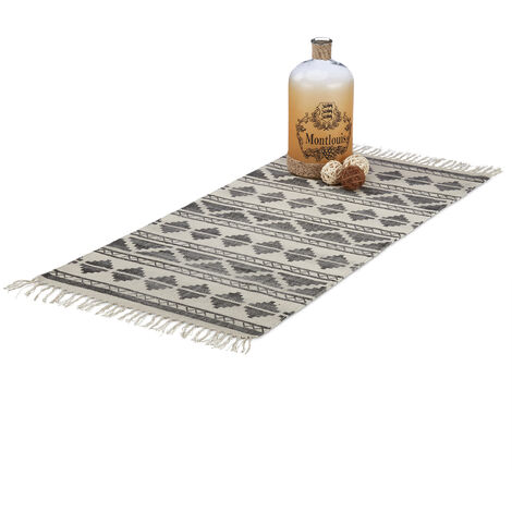 Relaxdays Patterned Carpet Runner for Hallway, Entrance or Living Room, 70x140 cm with Fringes, Black