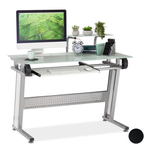 Relaxdays PC Desk, Glass, Keyboard Tray & Shelf, Modern, HWD 94 x 110 x 63 x cm, White