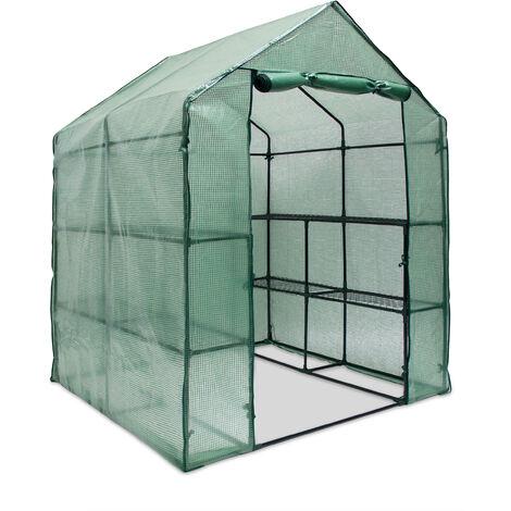 Relaxdays PE Greenhouse 140 x 190 x 140 cm Green House Plant Storage, 8 Compartments, Sturdy, Metal