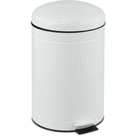 Relaxdays pedal bin, 12 litres, soft-closing mechanism, removable inner bin, bathroom waste bin, metal, white bin