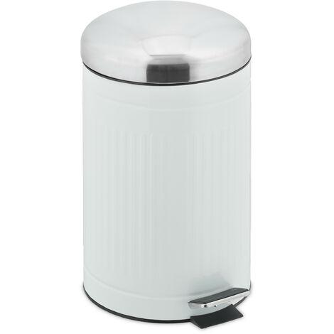 Relaxdays pedal bin, 12 litres, soft-closing mechanism, removable inner bin, bathroom waste bin, metal, white & silver
