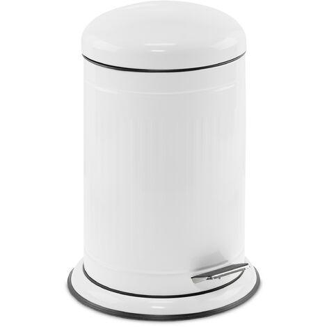 Relaxdays pedal bin, 12 litres, soft-closing mechanism, removable inner bin, kitchen waste bin, metal, bin in white
