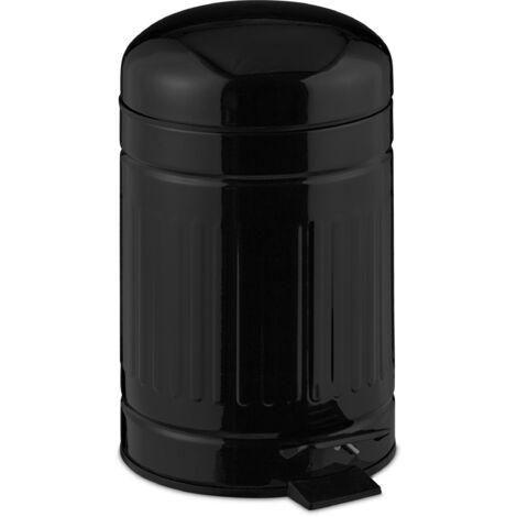 "main image of ""Relaxdays pedal bin, 3 litres, soft-closing mechanism, removable inner bin, bathroom waste bin, metal, black"""