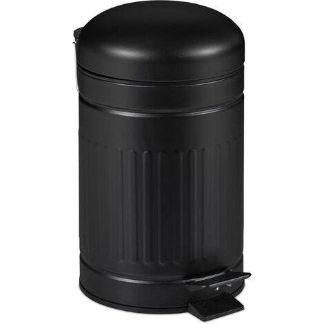 Relaxdays pedal bin, 3 litres, soft-closing mechanism, removable inner bin, bathroom waste bin, metal, black bin