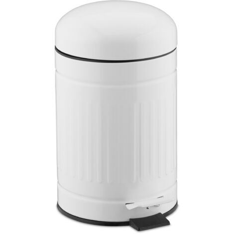 Relaxdays pedal bin, 3 litres, soft-closing mechanism, removable inner bin, bathroom waste bin, metal, white