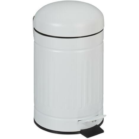 Relaxdays pedal bin, 3 litres, soft-closing mechanism, removable inner bin, bathroom waste bin, metal, white bin