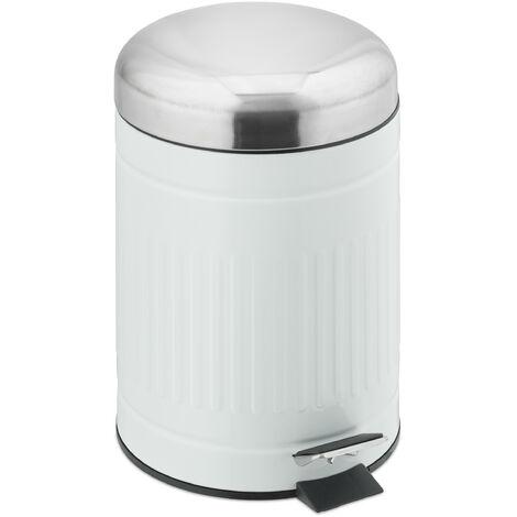 Relaxdays pedal bin, 5 litres, soft-closing mechanism, removable inner bin, bathroom waste bin, metal, bin in white