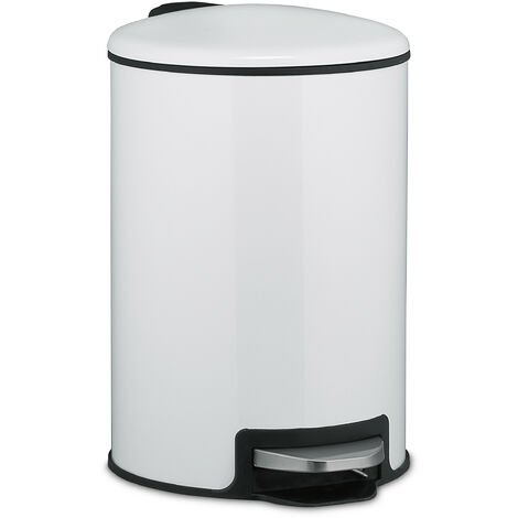Relaxdays pedal bin, 5 litres, soft-closing mechanism, removable inner bin, bathroom waste bin, metal, rubbish bin white