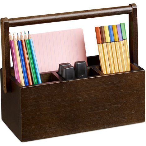 Relaxdays Pen Holder, Bamboo Desk Organiser with Handle, Office Storage, 4 Compartments for Pens, Dark Brown