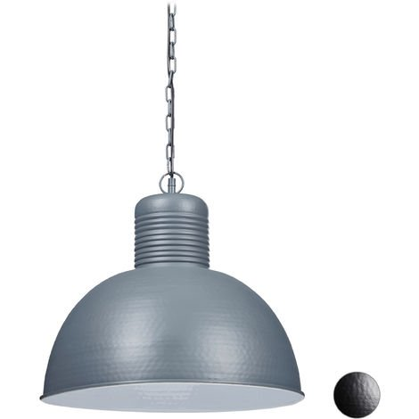 Relaxdays Pendant Lamp, Large Industrial Ceiling Light, Home Lighting, Vintage, E27, 40W, HxD 157x49 cm, Grey/White