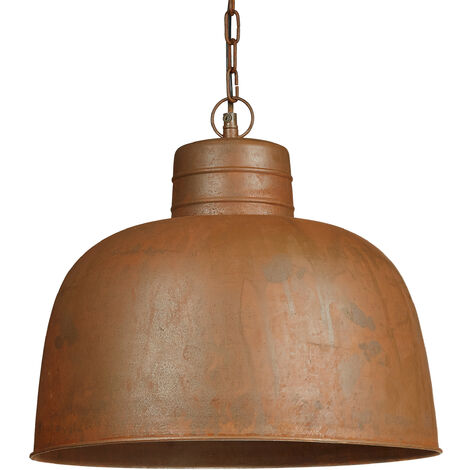 Relaxdays Pendant Light, Rust-Coloured Vinatage Light, 120 x 40 cm, Industrial Design, Metal Chain and Ceiling Mount, Brown