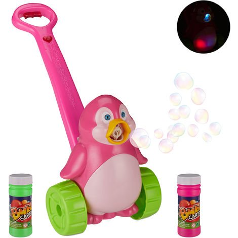 Relaxdays Penguin Bubble-Making Machine, Music, LED-Light, Kids' Toy, Outdoor, Battery Powered, Soap Solution, Pink