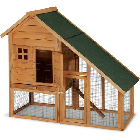 Relaxdays Pet House for Small Animals, Wooden Hutch, Outdoor Enclosure, Rabbits, Guinea Pigs, 120 x 140 x 68.5cm Natural