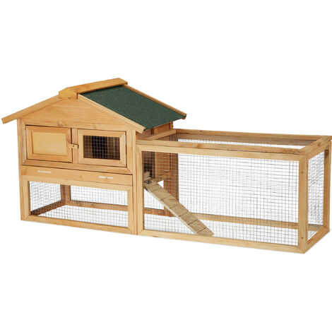 Relaxdays Pet Hutch for Rabbit, Bunny & Guinea Pig, Wooden House & Run, Outdoor Enclosure, 71 x 154 x 51.5 cm, Natural