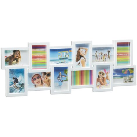 Relaxdays Picture Frame Collage, Photo Gallery for 12 Pictures, XL Hanging Frame, Multi Photo, White