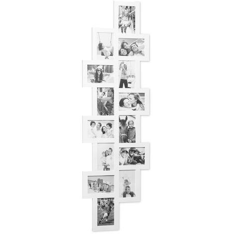 Relaxdays Picture Frame Collage, Photo Gallery for 14 Pictures, Hanging Frame, Multi Photo, White