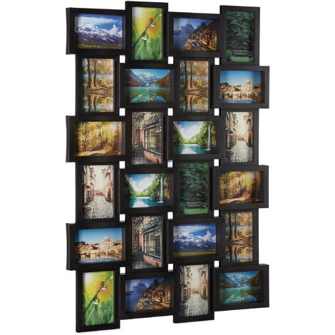 Relaxdays Picture Frame for 24 Photos, Individual Photo Collage, HxWxD: 59 x 86 x 2.5 cm, Black