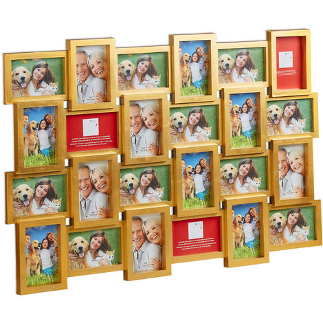 Relaxdays Picture Frame for 24 Photos, Individual Photo Collage, HxWxD: 59 x 86 x 2.5 cm, Black or White