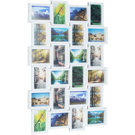 Relaxdays Picture Frame for 24 Photos, Individual Photo Collage, HxWxD: 59 x 86 x 2.5 cm, White
