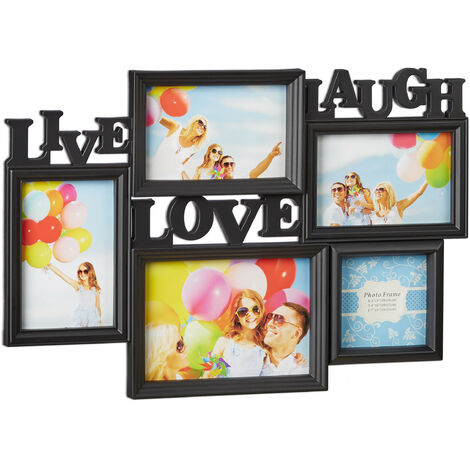 Relaxdays Picture Frame Live Love Laugh, Hanging Gallery for 5 Photos in Various Sizes, 3D Collage, 31x45.5, Black