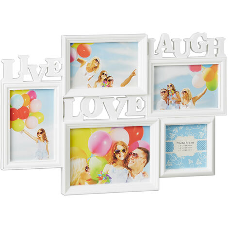 Relaxdays Picture Frame Live Love Laugh, Hanging Gallery for 5 Photos in Various Sizes, 3D Collage, 31x45.5, White