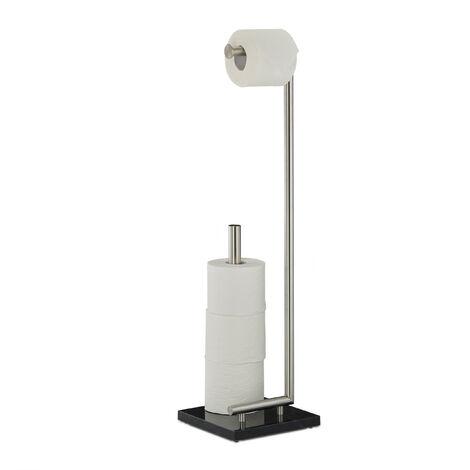 Relaxdays PIERRE Toilet Paper Holder, Freestanding Toilet Roll Storage, Marble, HxWxD: 74 x 20 x 20 cm
