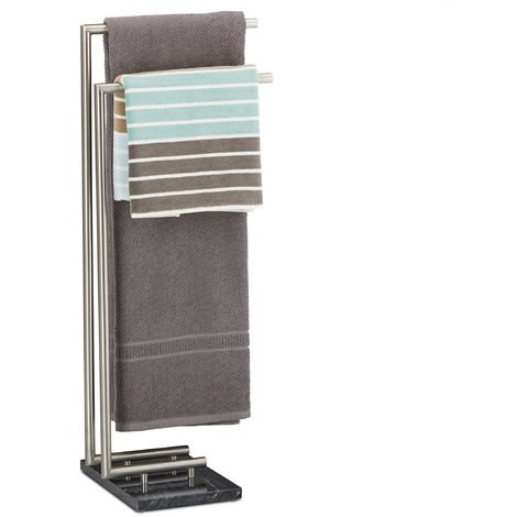 Relaxdays PIERRE Towel Holder, Freestanding Towel Rail, Marble Base, HxWxD: 84 x 34 x 30 cm, Black