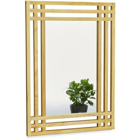 Relaxdays Pine Wood Mirror, Size: 70 x 50 x 2 cm Wall Mirror Hanging Mirror for the Bathroom, Wall-Mounted Large Bath Mirror with Wooden Frame as Deco Mirror Bathroom Mirror, Natural Brown