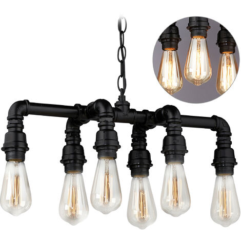 Relaxdays Pipe Hanging Lamp, 6 E27 Sockets, Metal, Retro Bar Lighting, Industrial Style, Pendant, Black