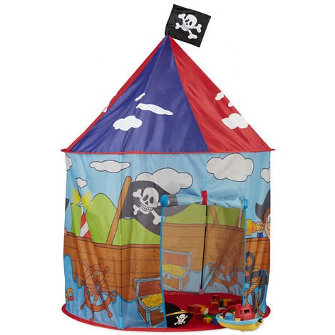 Relaxdays Pirate Play Tent for Boys, Playhouse with Flag for Ages 3 and Up, H x D 130 x 100 cm, Red-Blue