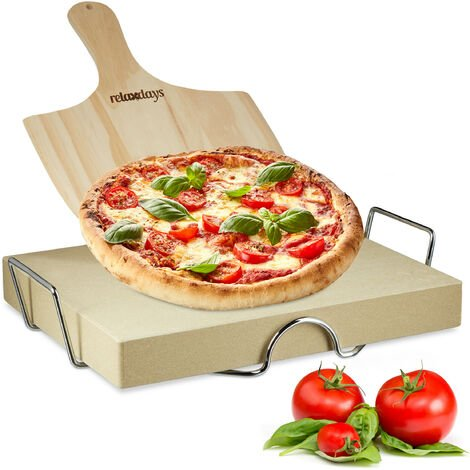 Relaxdays Pizza Stone Set 5 cm Thick w/ Metal Holder and Pizza Peel made of Wood, Size: 7 x 43 x 31.5 cm, Natural