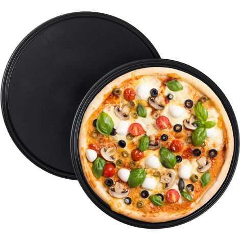 Relaxdays Pizza Tray, Set Of 2, Round, Nonstick, Pizza & Tarte Flambée, Carbon Steel, Dough Tray, ∅ 32 cm, Grey