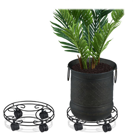 Relaxdays Plant Caddy, Set of 2, Round, Indoors & Outdoors, Brakes, Pot Trolley with Wheels, Metal, Black