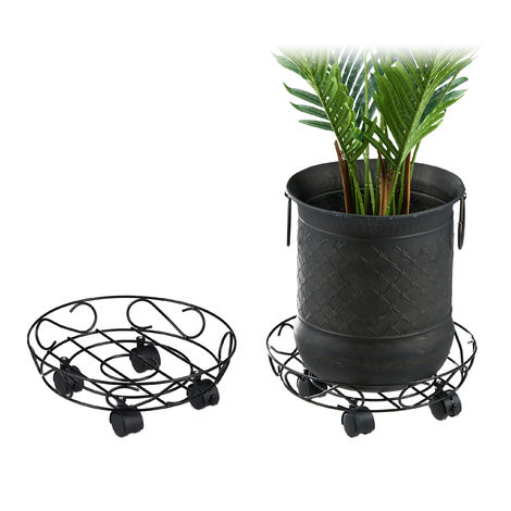 Relaxdays Plant Caddy, Set of 2, Round, Indoors & Outdoors, Brakes, Trolley with Wheels, Pots max. 28 cm Ø, Metal, Black