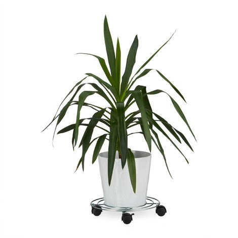 Relaxdays Plant Caddy, with Brakes, Flower Roller, Round, Size: ca 6 x 32 x 32 cm, Silver