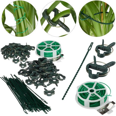 Relaxdays Plant Growing Supports, Stable Plant Clips, Twist Ties, Binding Wire Reel with Cutter, Green