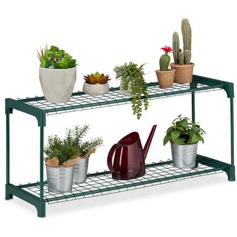 Relaxdays Plant Stand, 2 Tiers, Storage for Flower Pots, Indoor, Iron & Plastic, H x W x D 40.5 x 91 x 28.5, Green