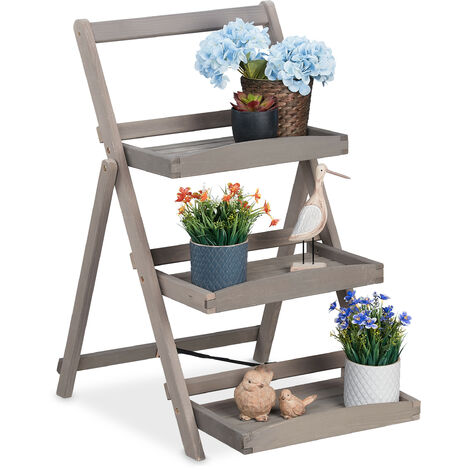 Relaxdays plant stand, 3-tier wooden ladder shelf, herb planter, foldable, indoor & outdoor, 50x64x80 cm (LxWxH), grey