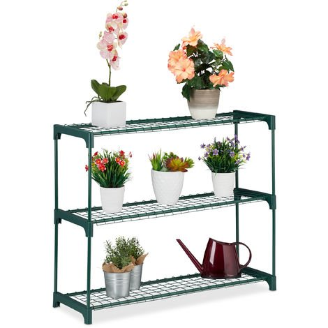 Relaxdays Plant Stand, 3 Tiers, Storage for Flower Pots, Indoor, Iron & Plastic, H x W x D 74.5 x 91 x 28.5, Green