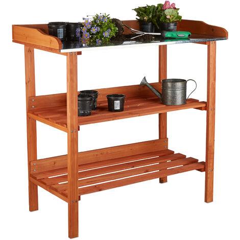 Relaxdays Plant Table, Wooden, Metal Table Top, 3 Shelves, Worktop Grow House, HxWxD: 87.5 x 91.8 x 41.5 cm, Orange