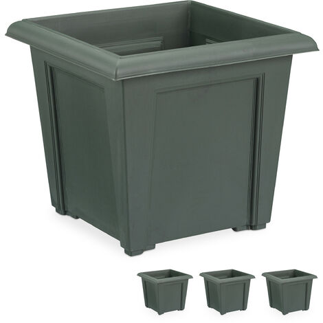 Relaxdays Plant Tub, Set of 4, Square, For In- & Outside, Plastic, Plant Pot, 5 L Soil Capacity, Anthrazit