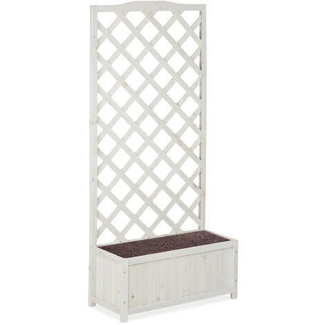 "main image of ""Relaxdays Planter Box with Trellis, Weatherproof, Wooden, Balcony, Garden Bed, 150 cm Lattice, 35 L, White"""